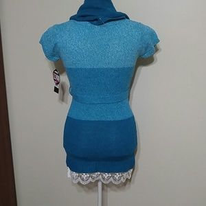 Star Ride Dresses - 2pc short sleeved belted sweater dress with scarf